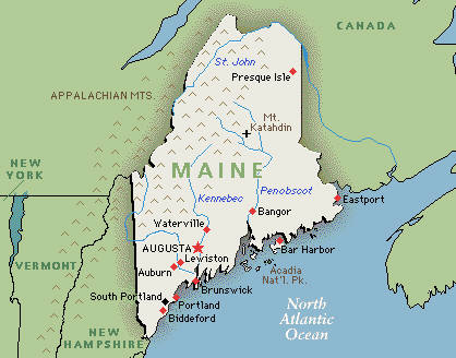 Executive Search Consultants Maine ME Portland - Maine in usa map