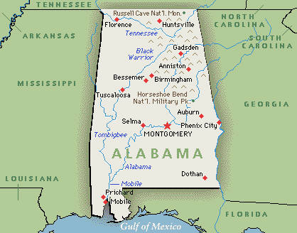 Executive Search Consultants Alabama AL Birmingham Mobile - Alabama on map of usa