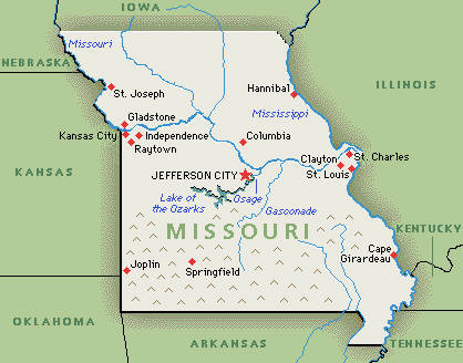 Where Is Missouri Location Of Missouri Political Map Of United - St louis missouri on map of us